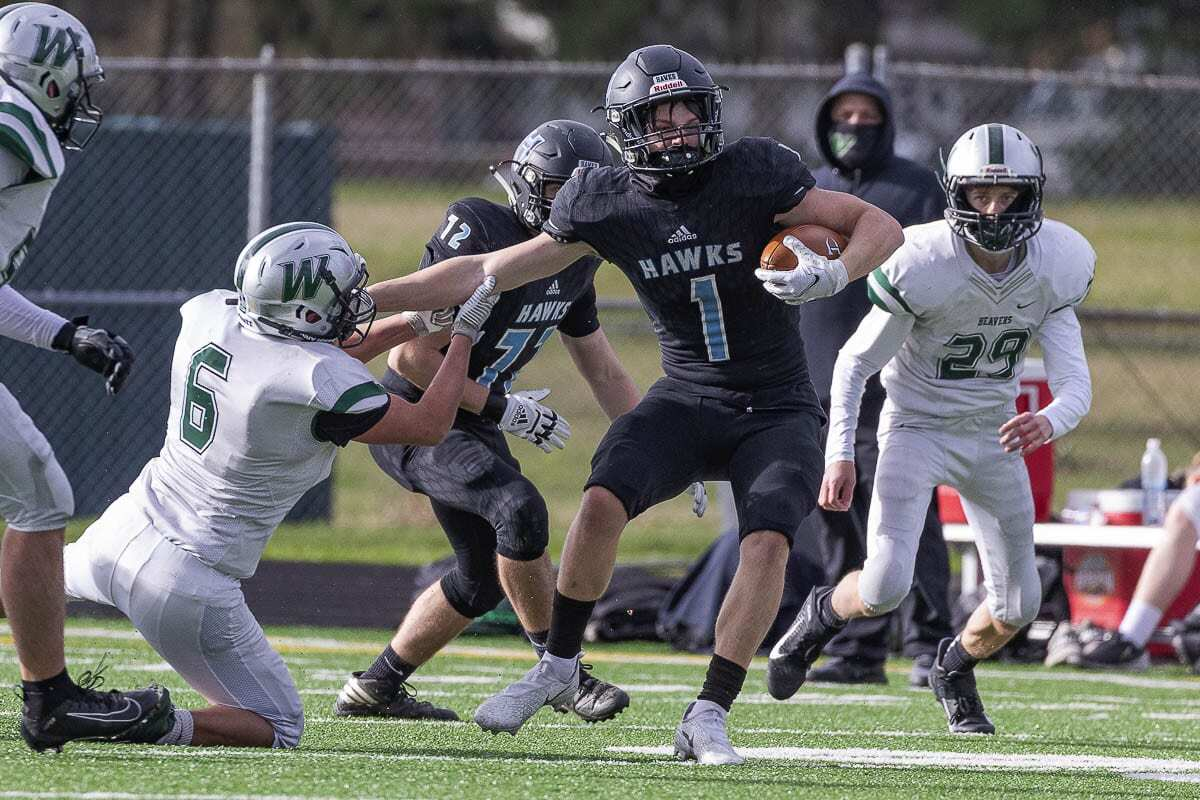 Andre Northrup did a little bit of everything for Hockinson on Saturday in a win over Woodland. He scored on a kickoff return and an interception return, plus he caught a team-high five passes. Photo by Mike Schultz