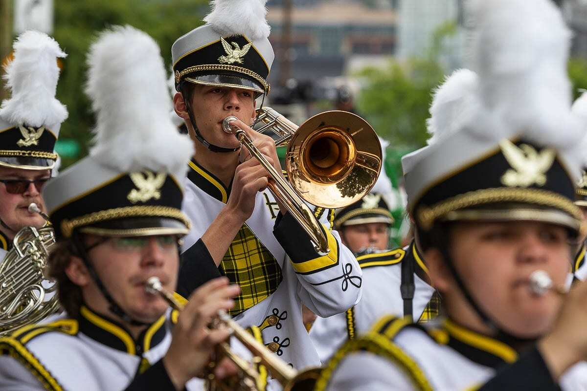 Bands like Hudson Bay's Marching Band, seen here, will still be able to participate in the parade virtually through video compilation of performances. Photo by Mike Schultz