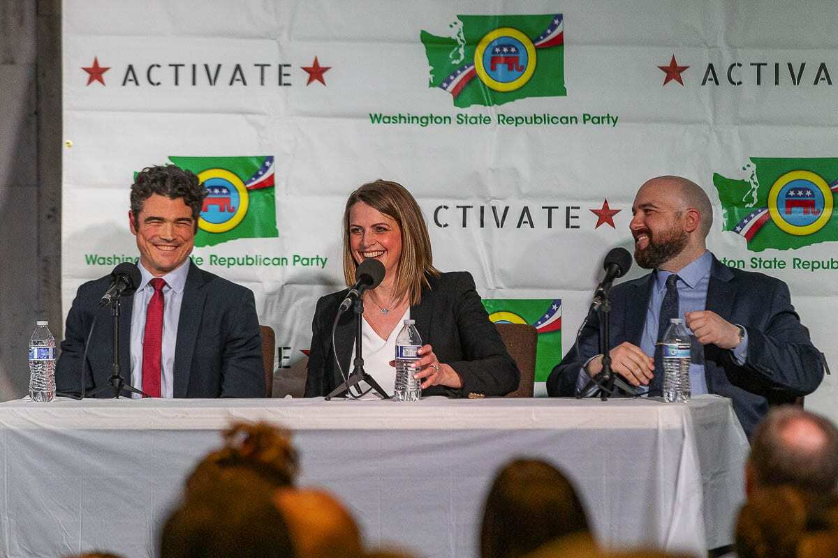 Republican candidates for the Third Congressional District participated in a candidate forum Tuesday night in Battle Ground. Shown here (left to right) are candidates Joe Kent, Heidi St. John and Wadi Yakhour. Photo by Mike Schultz