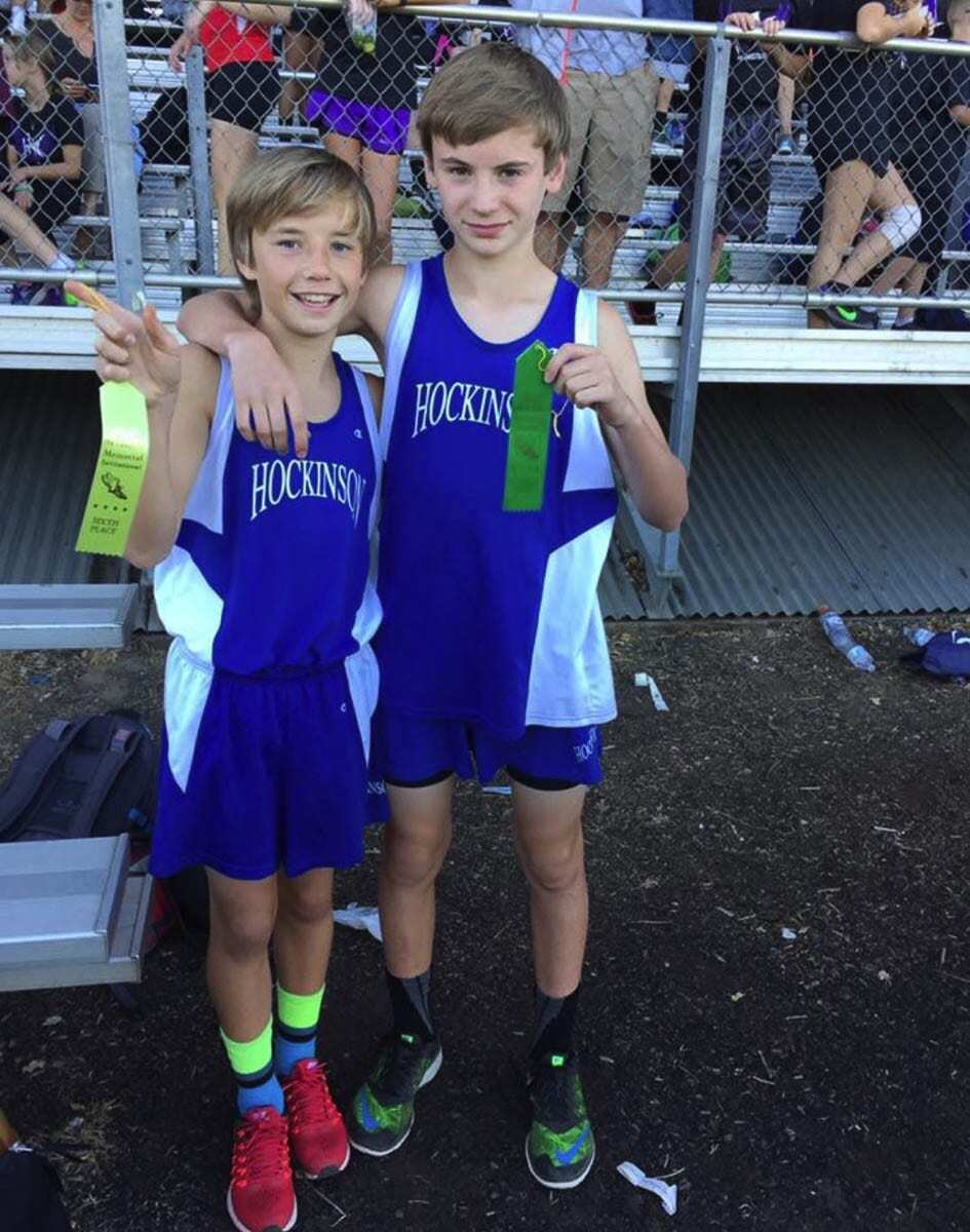Josh Saeman and Trevan Bischoff, shown here as seventh-graders, are closing in on the end of their high school cross country careers. Photo courtesy Christine Parker