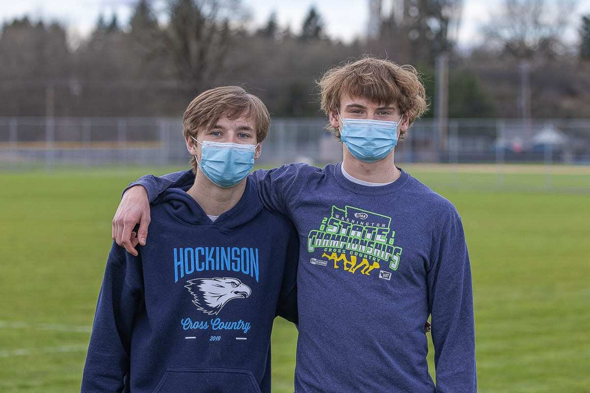 Josh Saeman, left, and Trevan Bischoff have been teammates, close friends, and rivals for Hockinson cross country for years. Photo by Mike Schultz