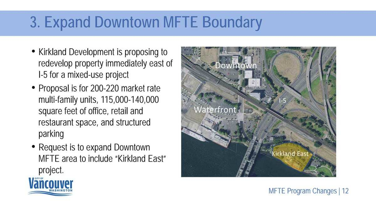 Vancouver City Council could vote next week to include a 2-acre property east of the Interstate Bridge in their Multifamily Tax Exemption overlay. Image courtesy Vancouver Community and Economic Development