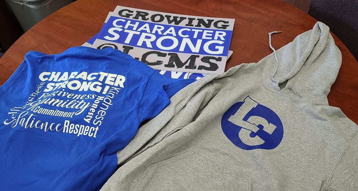 Students at La Center Middle School can earn T-shirts and hoodies through the Character Strong program. Photo by Paul Valencia