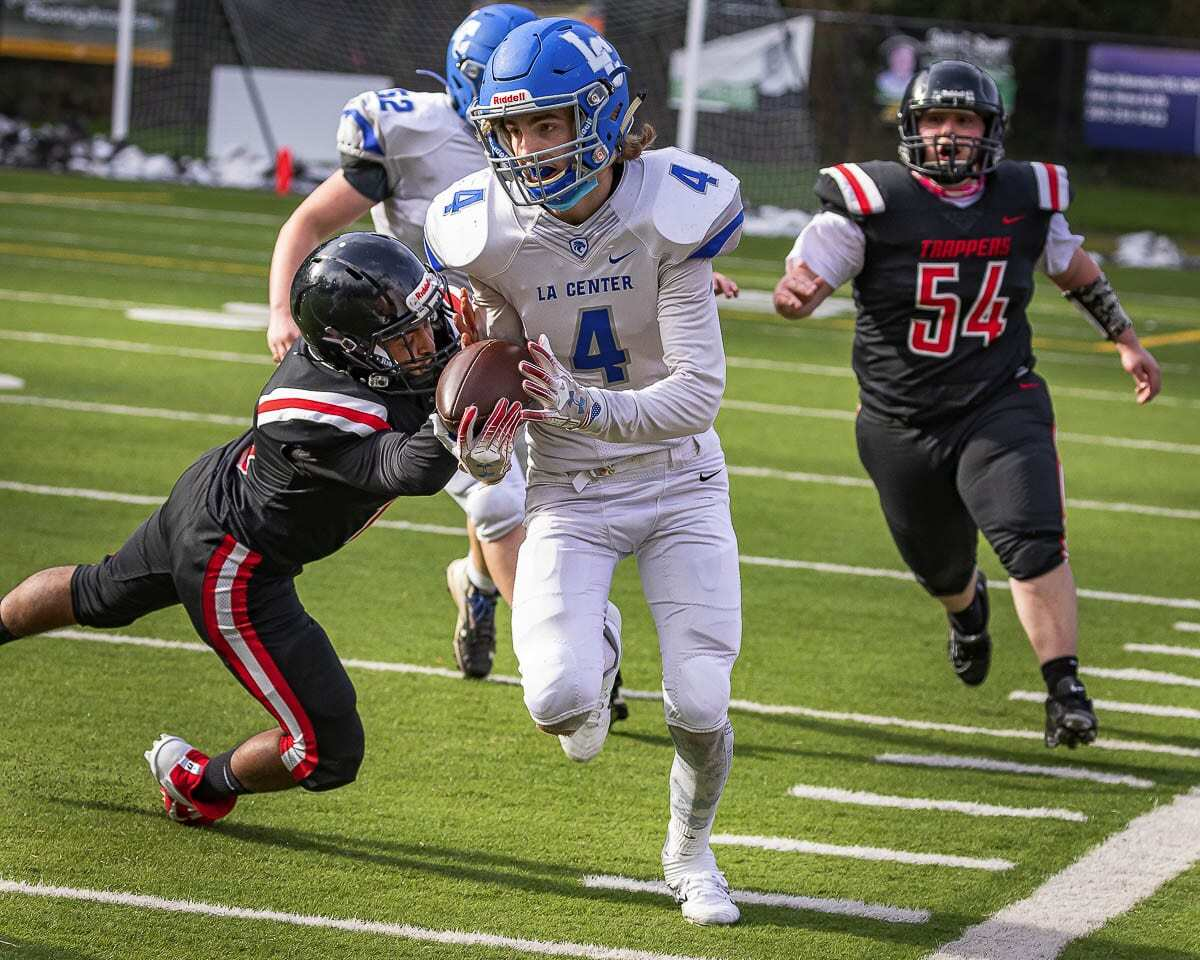 """Coby Namanny, shown here in La Center's Week 1 win, and the Wildcats have moved their """"home"""" game from Friday to Saturday and will host Montesano at Woodland High School. Photo by Mike Schultz"""