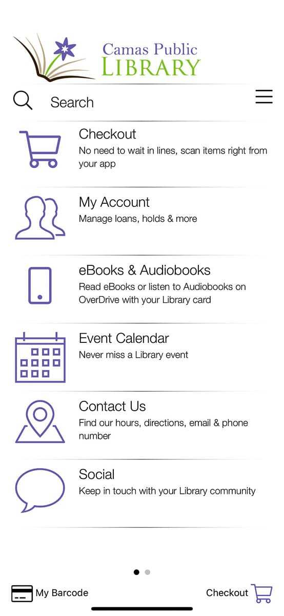 The main menu screen of the Camas Public Library app, which should be available on mobile platforms by early April. Photo courtesy of Danielle Reynolds.