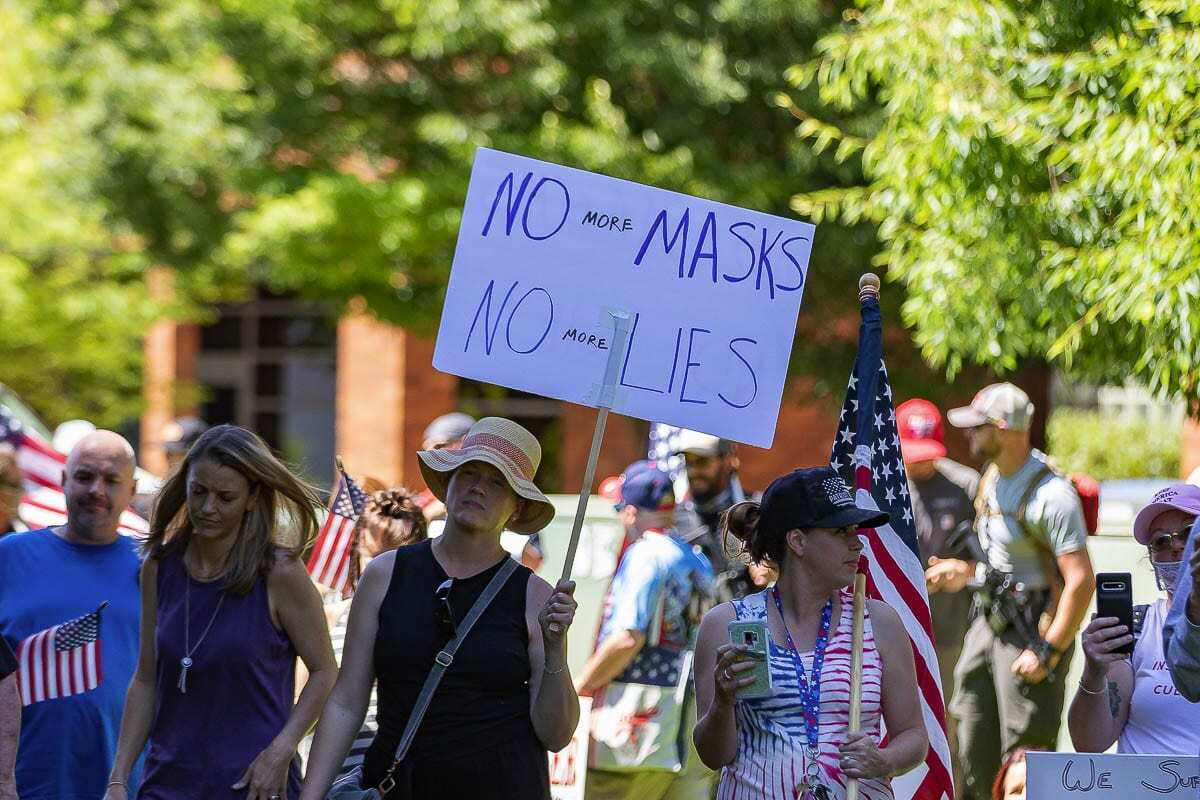 Protests over mask mandates marked the Summer months of the pandemic in Clark County and elsewhere. File photo