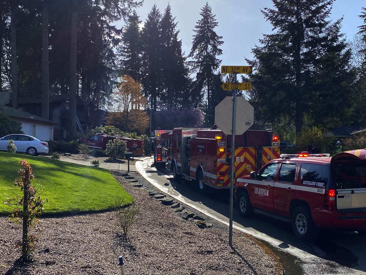 Flames were clearly evident in the second fire, which was called in as crews were mopping up from the first blaze. Photo courtesy of Clark County Fire District 6