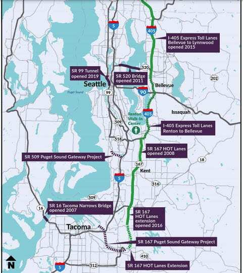 """Washington has five tolling facilities in the Puget Sound area. They include the Tacoma Narrows Bridge, SR 167 and I-405 HOT/Express lanes, the SR 520 """"floating bridge"""" over Lake Washington, and the SR 99 tunnel in downtown Seattle. Graphic WSTC"""