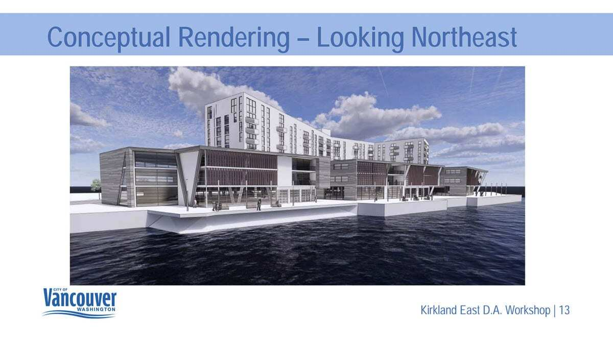 An early rendering of what the completed Renaissance Trails redevelopment might look like coming north over the Columbia River into Vancouver. Image courtesy Vancouver Community and Economic Development