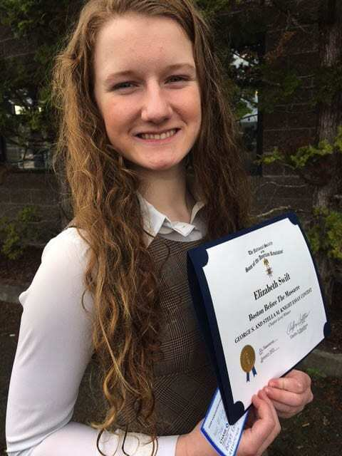 Elizabeth was awarded $100 for her essay's regional win, and could win as much as $5,000 on the national level. Photo courtesy of The Fort Vancouver SAR Chapter