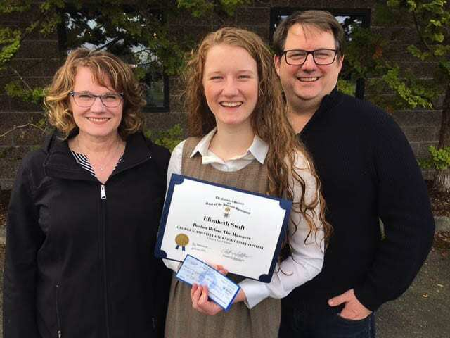 Elizabeth Swift of Ridgefield (center) is seen here with her parents Evangeline and David. Photo courtesy of The Fort Vancouver SAR Chapter