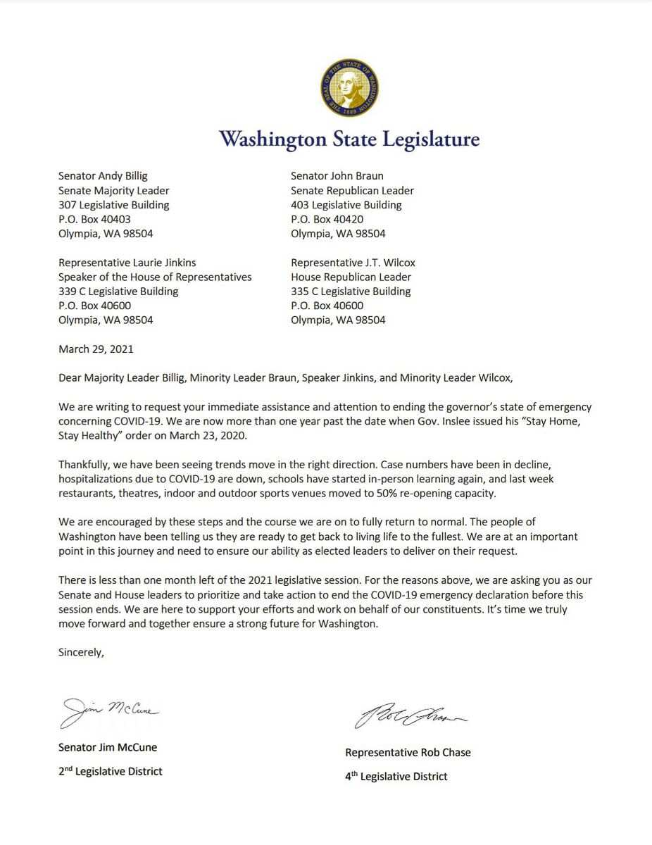 Representative from 17th District has been joined by 22 other lawmakers to ask for an end to Gov. Jay Inslee's state of emergency by end of 2021 legislative session.