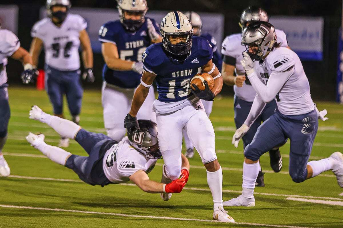 Xavier Owens had a huge night for Skyview. He had an interception that led to a Skyview touchdown, and he scored the game-winning touchdown on a catch in the final minutes. Photo by Mike Schultz
