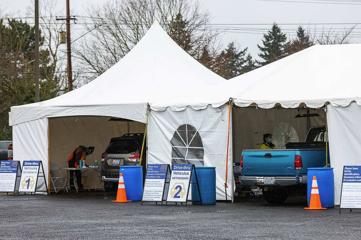 The community vaccination site in the Tower Mall parking lot will open again next Friday. Photo by Mike Schultz