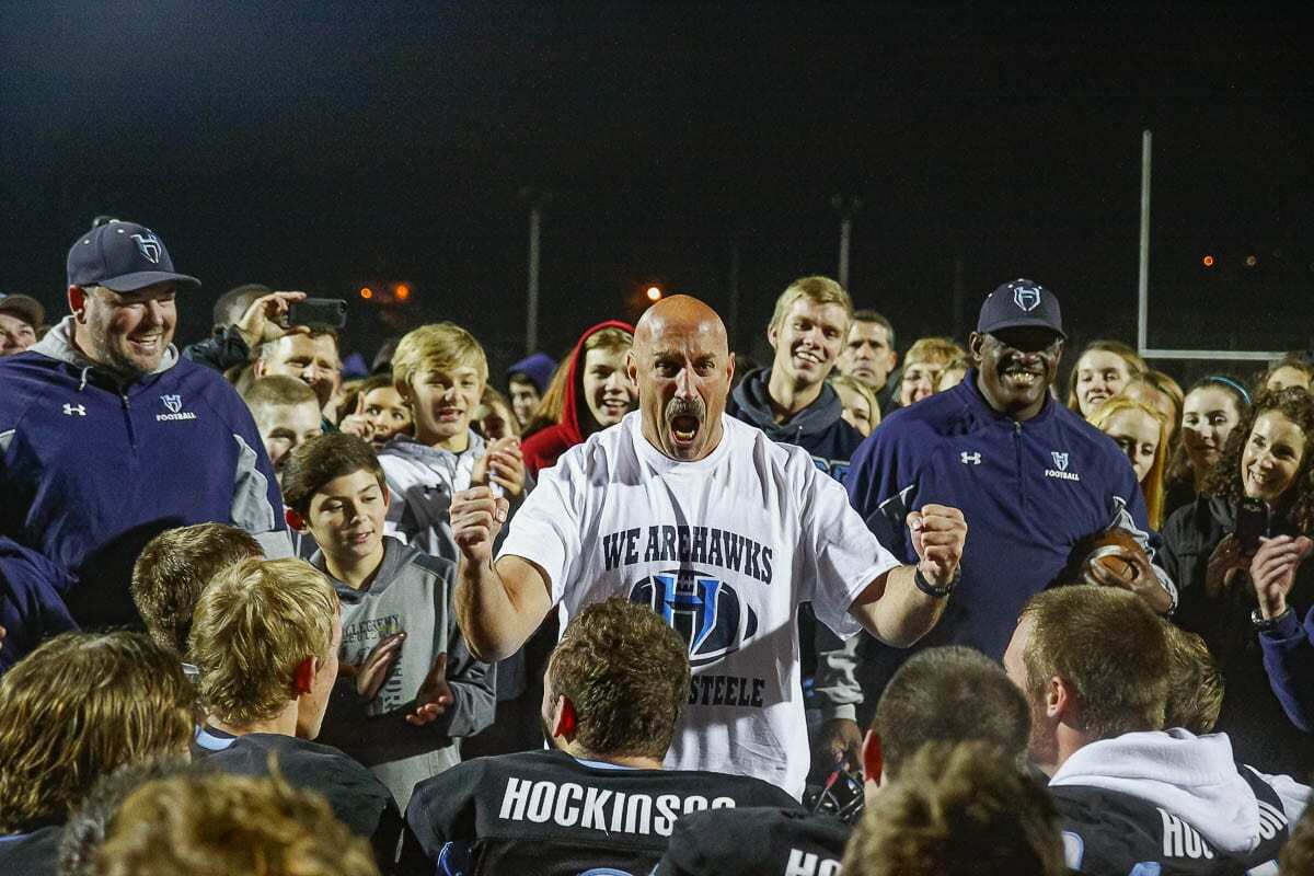 Hockinson High School football coach Rick Steele stepped down Friday night after 16 seasons, two state titles and many memorable moments like this. Photo by Mike Schultz
