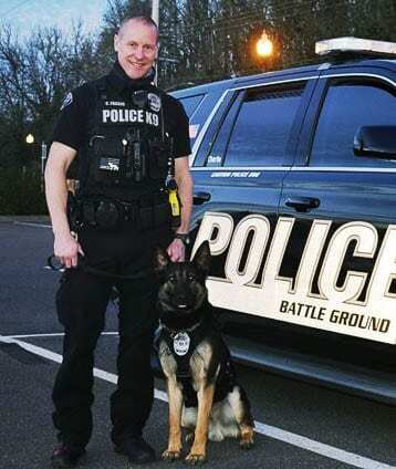 Officer Fraser and Charlie. Photo courtesy of city of Battle Ground