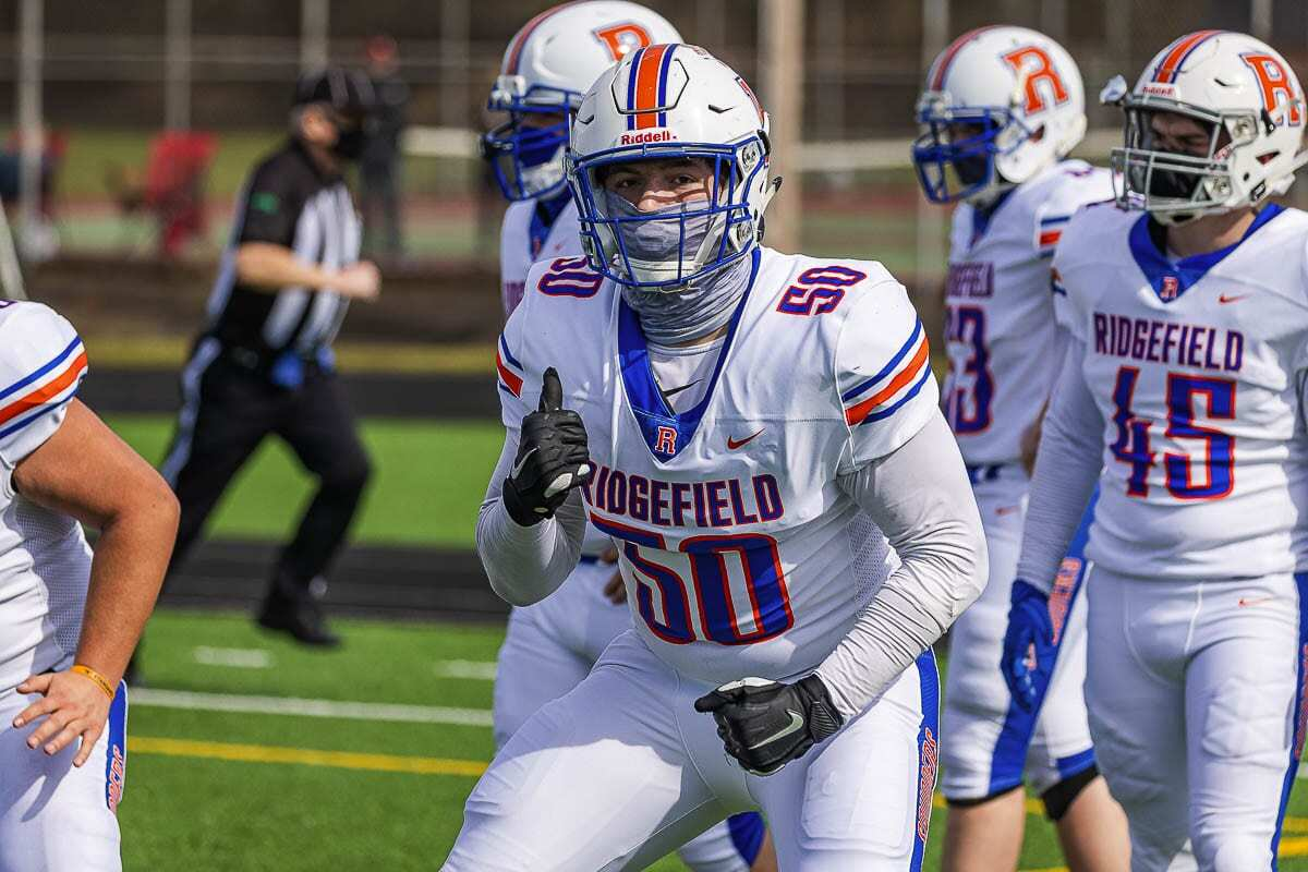 Bailey Meek was the biggest football recruit in King's Way Christian history. When that program went on hiatus, he enrolled at Ridgefield and became the 2A GSHL's Defensive Player of the Year. Photo by Mike Schultz