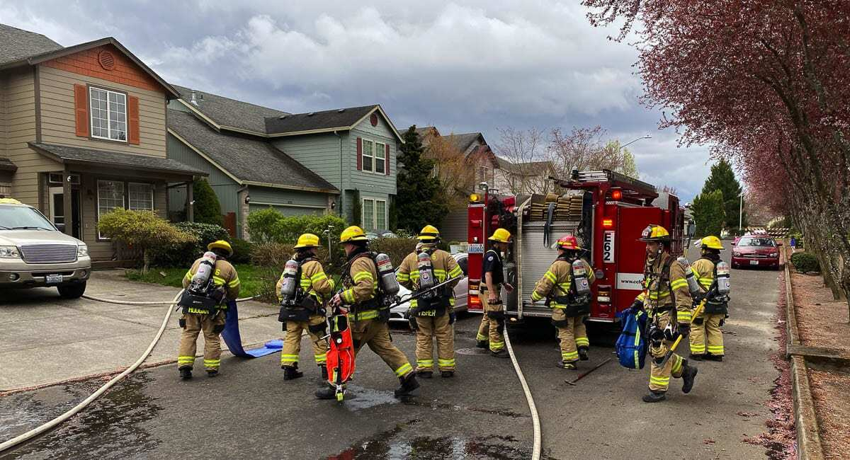 A house fire in Felida Wednesday included life-saving efforts by firefighters, who found two cats and an unspecified number of kittens. Photo courtesy of Clark County Fire District 6