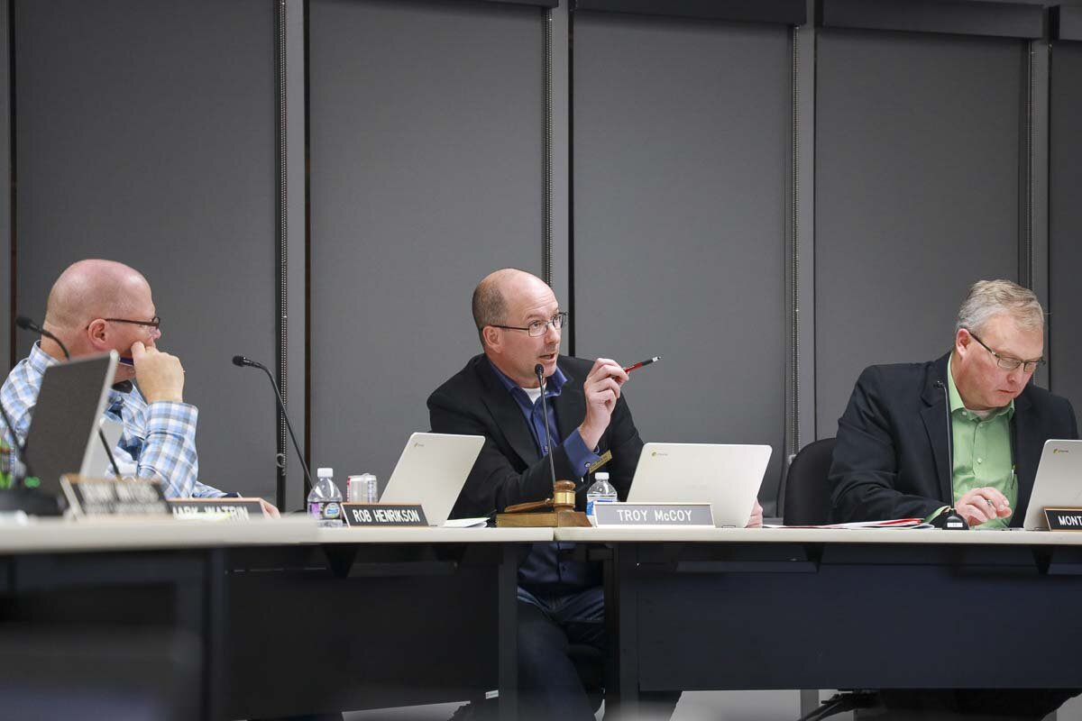 Troy McCoy, then-president of the Battle Ground School Board, at a hearing in 2019. File photo