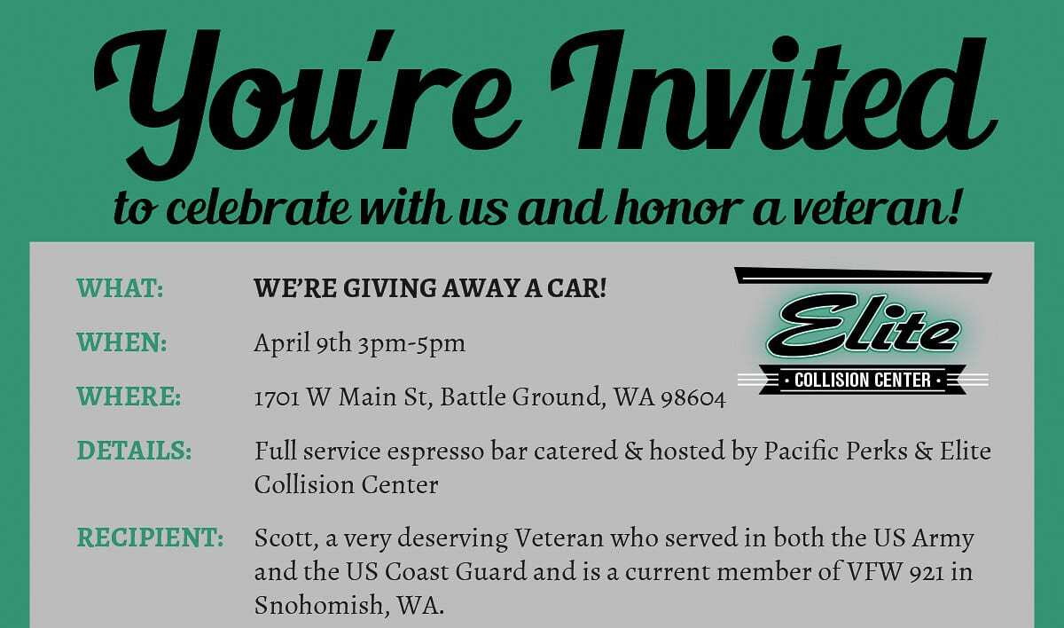 Elite Collision Center, 1701 West Main Street in Battle Ground, will donate a car to disabled US Army and Coast Guard veteran Scott Bingham of Snohomish at 3 p.m. Friday. Flyer courtesy of Elite Collision Center