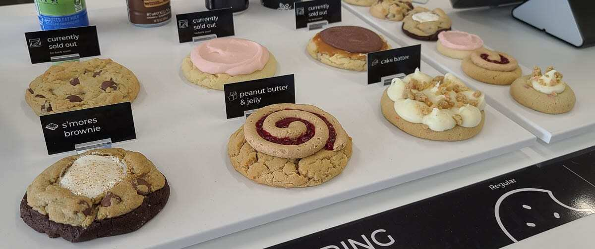 Just a sampling of the variety of cookies at Crumbl Cookies, which will hold its grand opening Friday in Hazel Dell. Photo by Paul Valencia