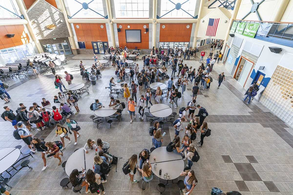 Scenes like this one inside Hockinson High School likely won't be the norm for quite a while longer, even as in-person learning expands. File photo