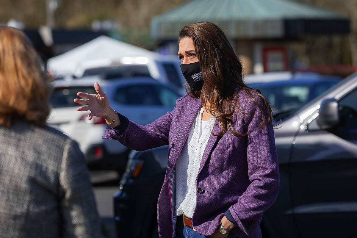 Congresswoman Jaime Herrera Beutler is seen here at Vancouver's Tower Mall vaccination site off Fourth Plain in April of 2021. Photo by Mike Schultz