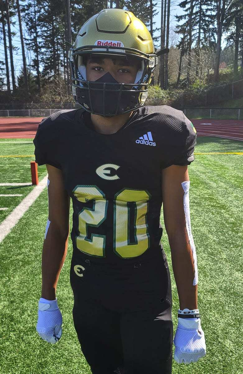 Jamison Duke, a student at King's Way Christian, plays football for Evergreen now that the program at King's Way is on hiatus. Photo by Paul Valencia