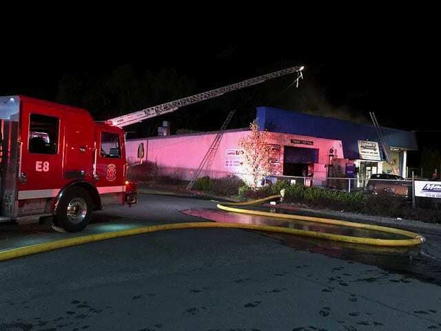 Vancouver firefighters responded to the MAACO fire within six minutes to find the one-story commercial building on fire at 10:19 p.m. Wednesday night. Photo courtesy of Vancouver Fire Department