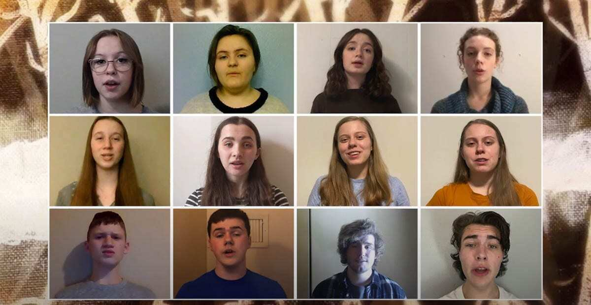 Members of the Prairie Treble Choir sing together via video compilation for their spring concert. Photo courtesy of BGPS