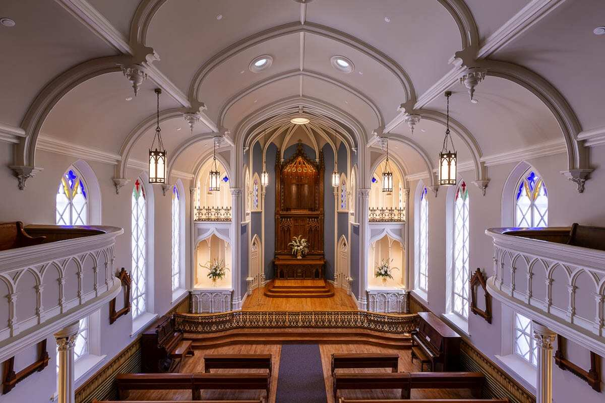 Rehabilitation of the Gothic Revival chapel, designed by Mother Joseph of the Sacred Heart and opened in 1883, began in January 2019 and was completed the following May. Photo courtesy of The Historic Trust