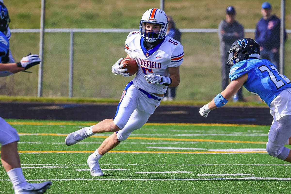 Former King's Way Christian football player Ty Snider became an all-league wide receiver in his first season with Ridgefield. Photo by Mike Schultz