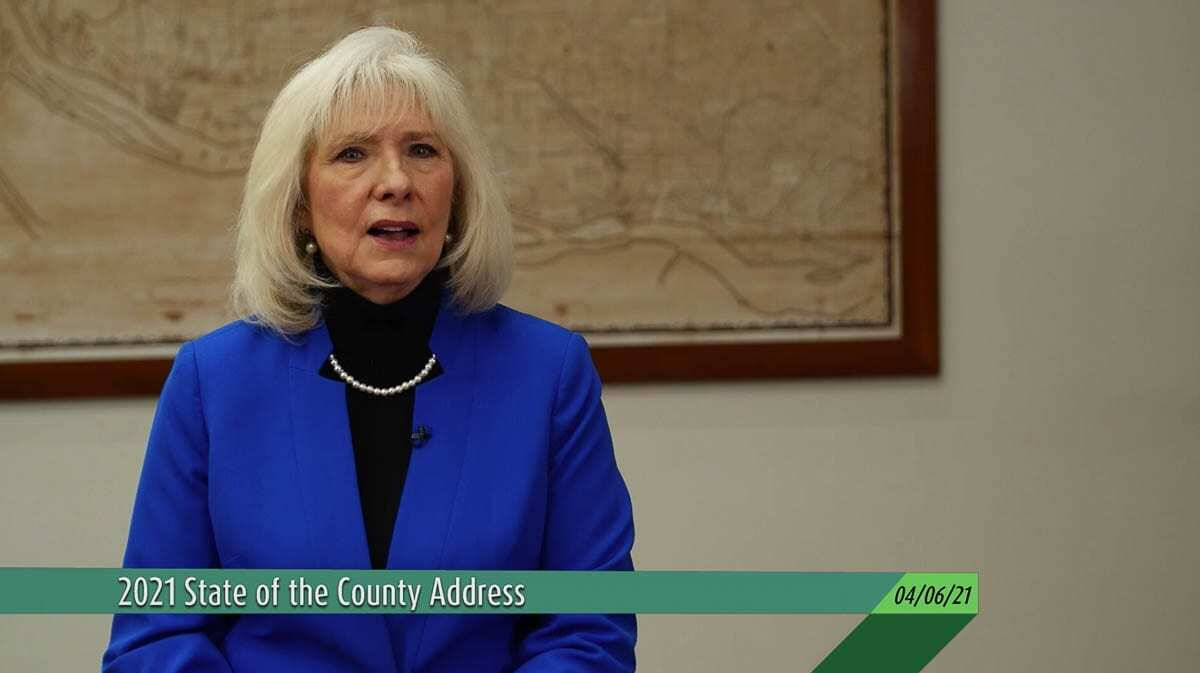 Clark County Council Chair Eileen Quiring O'Brien is seen here via CVTV delivering the 2021 State of the County address. Photo courtesy of CVTV