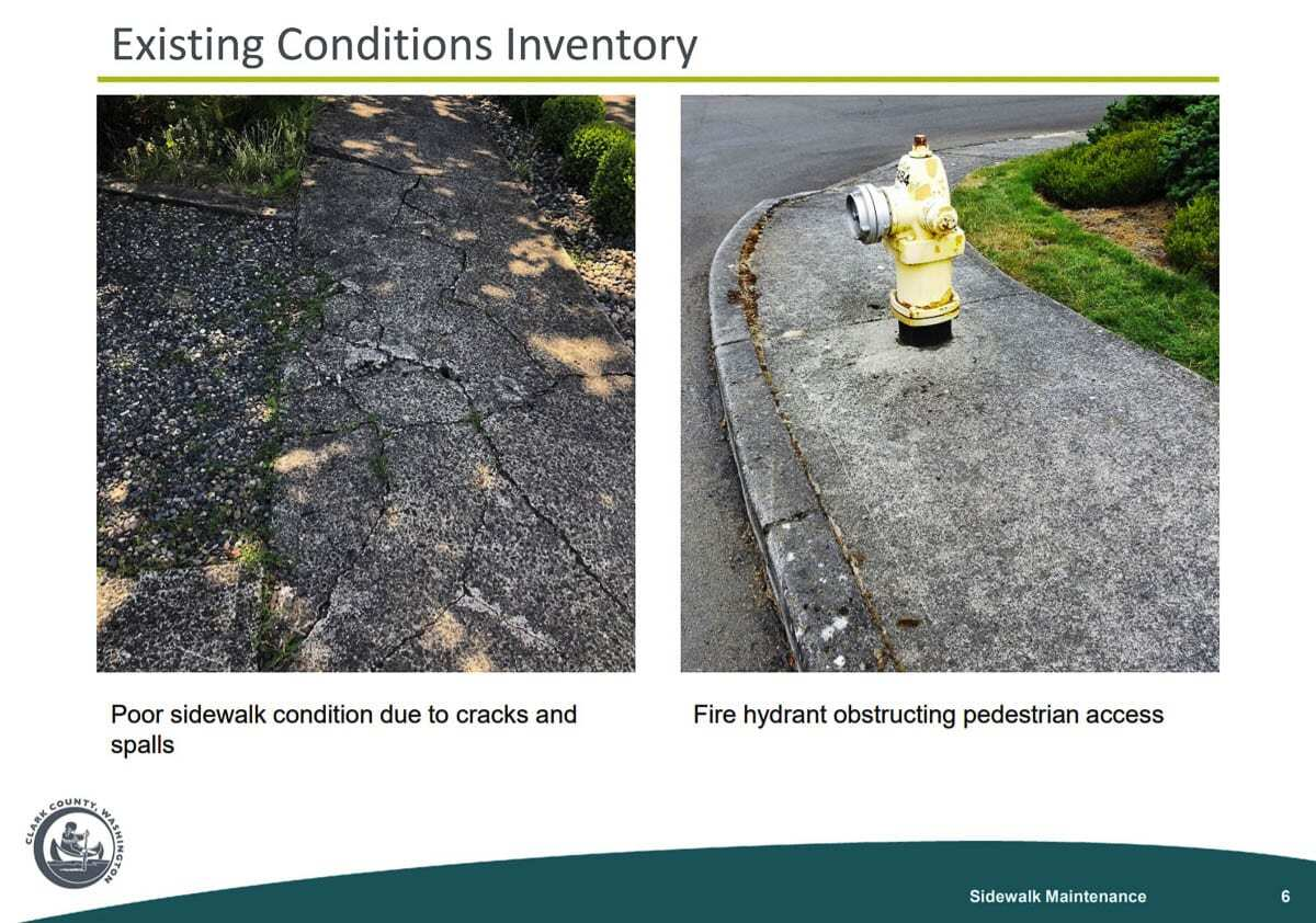 Deteriorating concrete and even fire hydrants in the public right of way are other common problems in need of repair along Clark County sidewalks. Image courtesy Clark County Public Works
