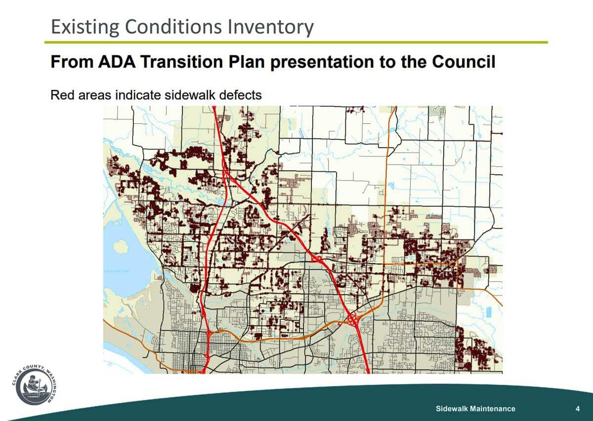 This ADA survey done in unincorporated Clark County shows the thousands of sidewalk miles in need of repair (in red). Image courtesy Clark County Public Works