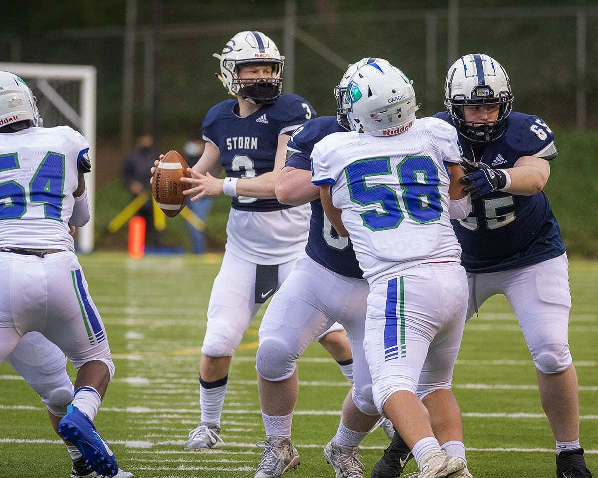 Mason Packer, a former King's Way Christian football player, moved to Skyview this season and played for a coaching staff he has known most of his life. Photo by Mike Schultz