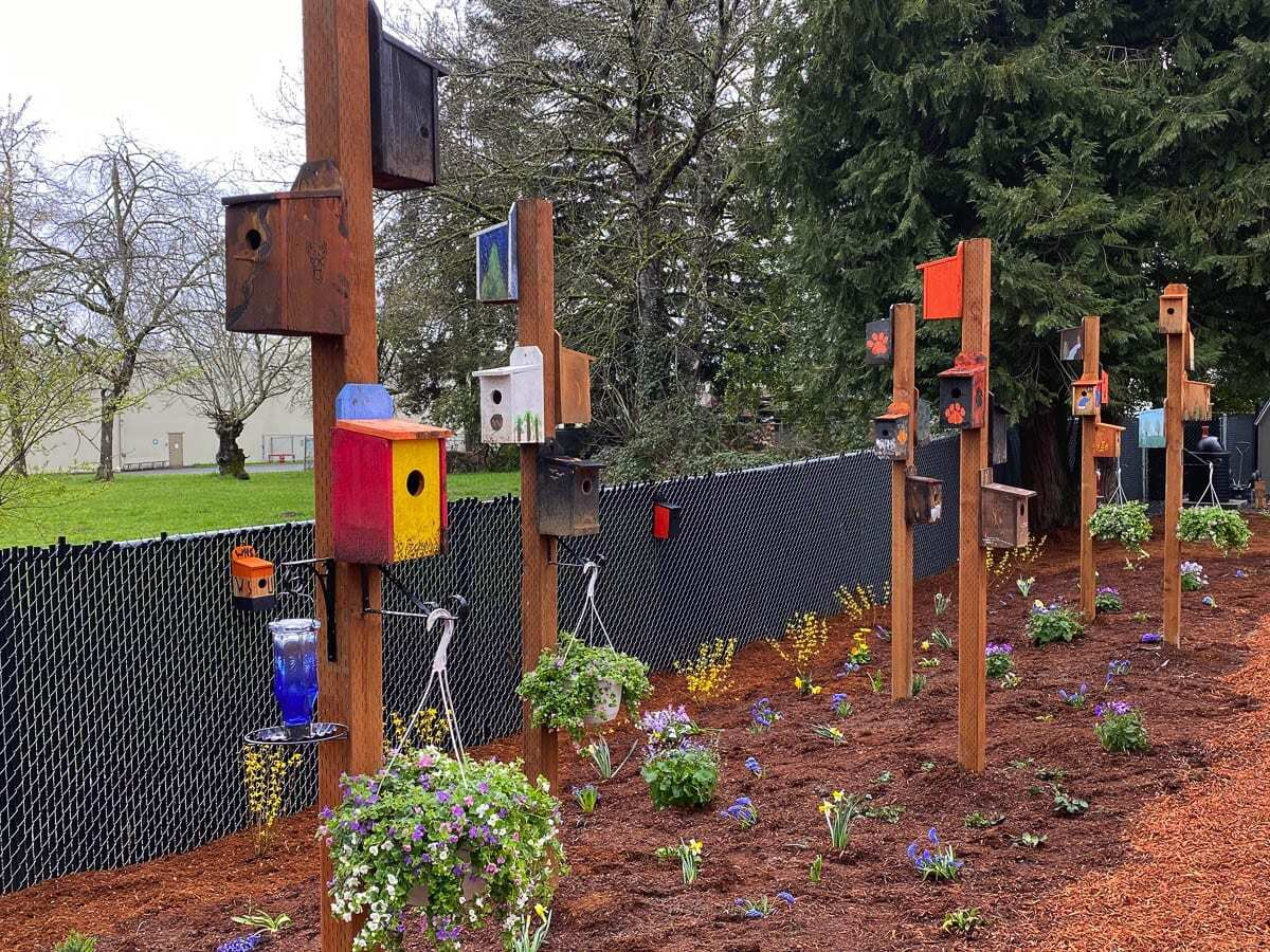 Washougal High School students' woodworking skill and creativity is on display at the new Downtown Community Garden at 2036 Main Street in Washougal. Photo courtesy of Washougal School District