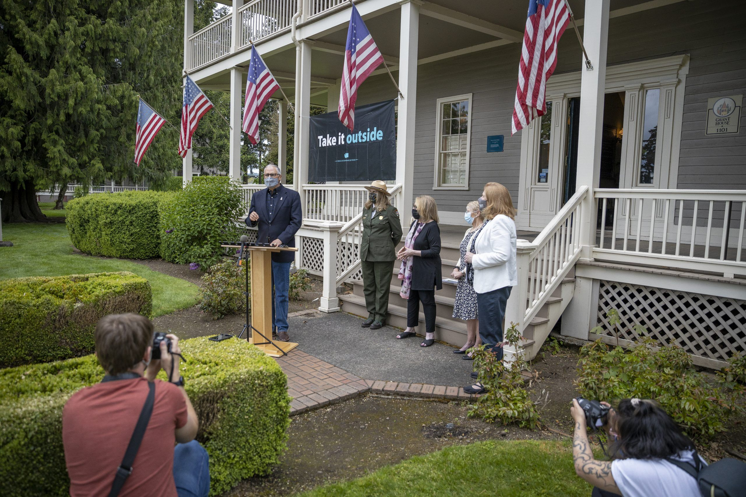 Inslee was joined by Superintendent Tracy Fortmann of the Fort Vancouver Historic site, Stacey Graham the interim president and CEO of the Historic Trust, Liz Luce the board president for the Friends of Fort Vancouver, and Vancouver Mayor Anne McEnerny-Ogle. Photo by Jacob Granneman