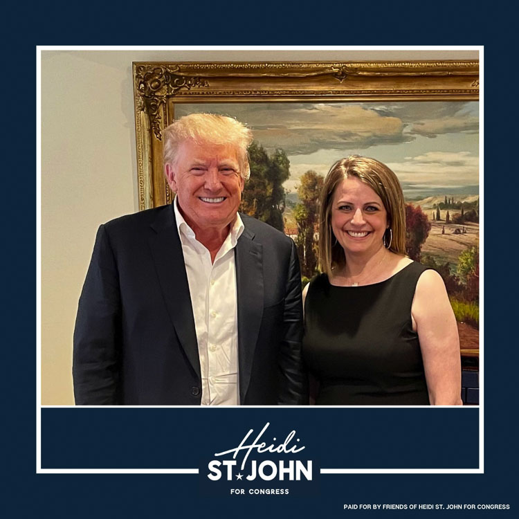 Clark County resident and Third Congressional District candidate Heidi St. John is shown here with former President Donald Trump. Photo courtesy of the Heidi St. John for Congress Campaign