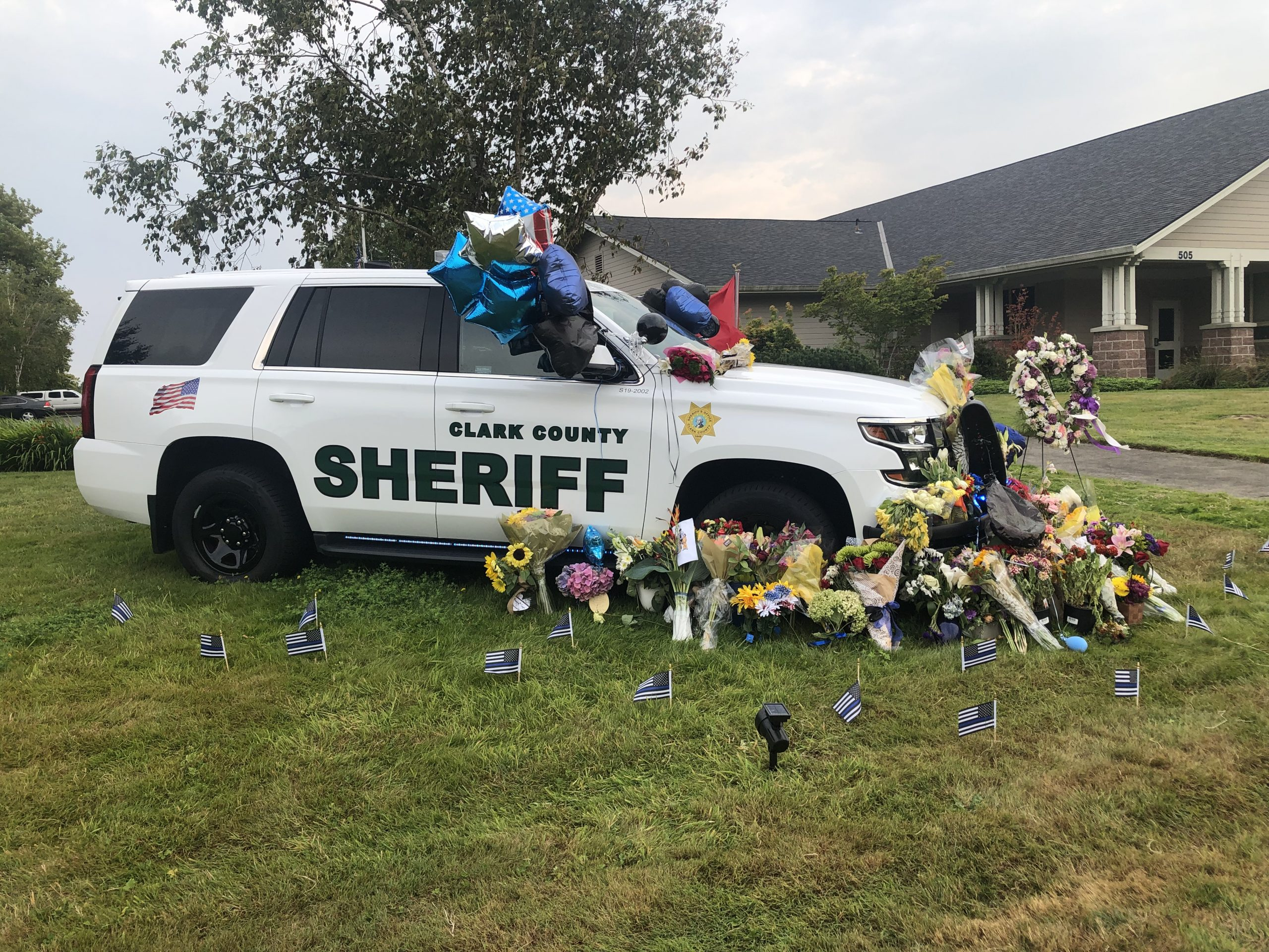 Fallen Clark County Sheriff Sergeant Jeremy Brown's vehicle sits in remembrance