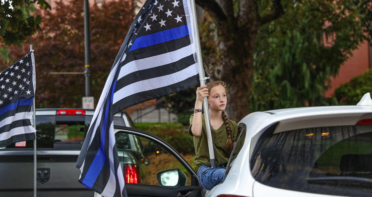 Members of the community gathered Thursday evening for a Back The Blue Rally in memory of Clark County Sheriff's Office Sergeant Jeremy Brown, who was shot and killed in the line of duty last Friday (July 23). 