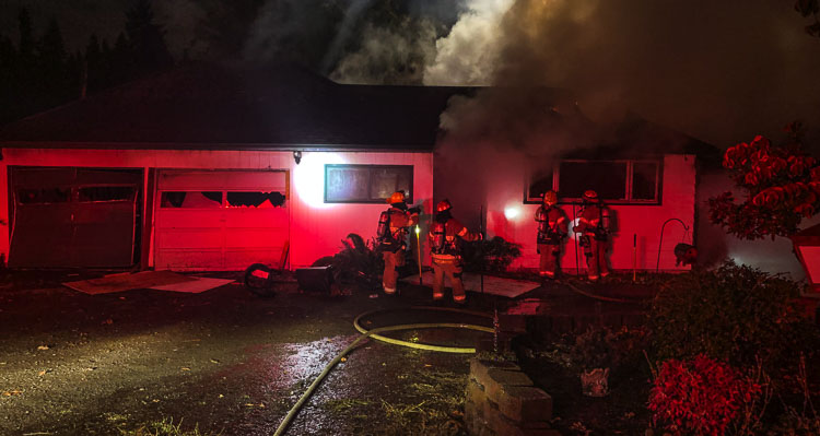 Crews from Clark-Cowlitz Fire Rescue responded to a fully involved house fire on NW 199th Avenue Sunday night.